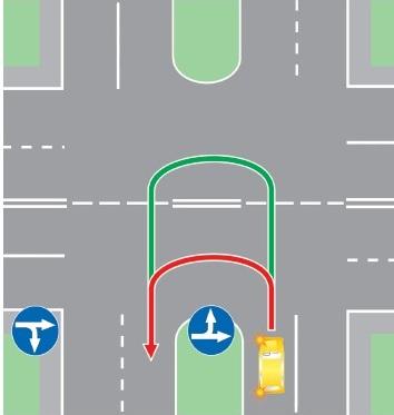 Выезд в нарушение ПДД на полосу, предназначенную для встречного движения, на перекрестке, имеющем два пересечения проезжих частей.